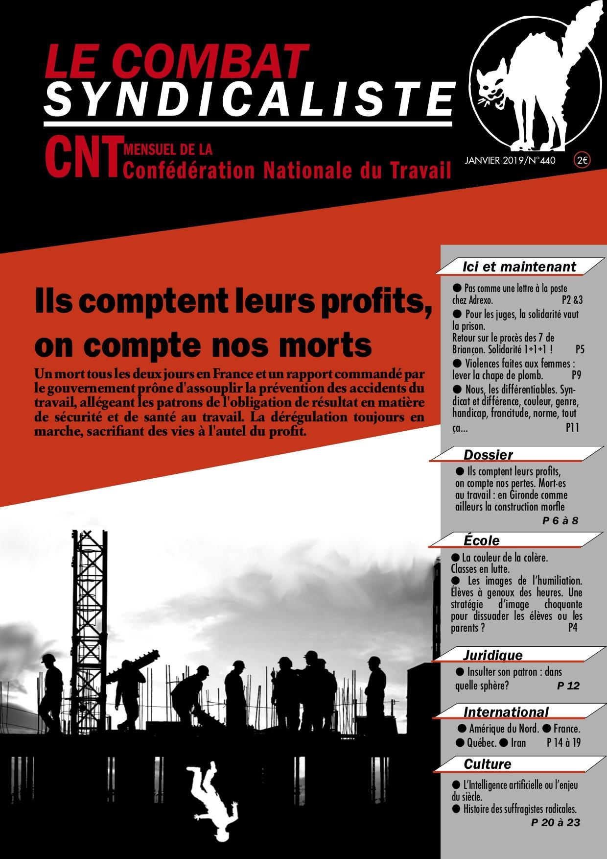 Combat Syndicaliste n°440 - Janvier 2019