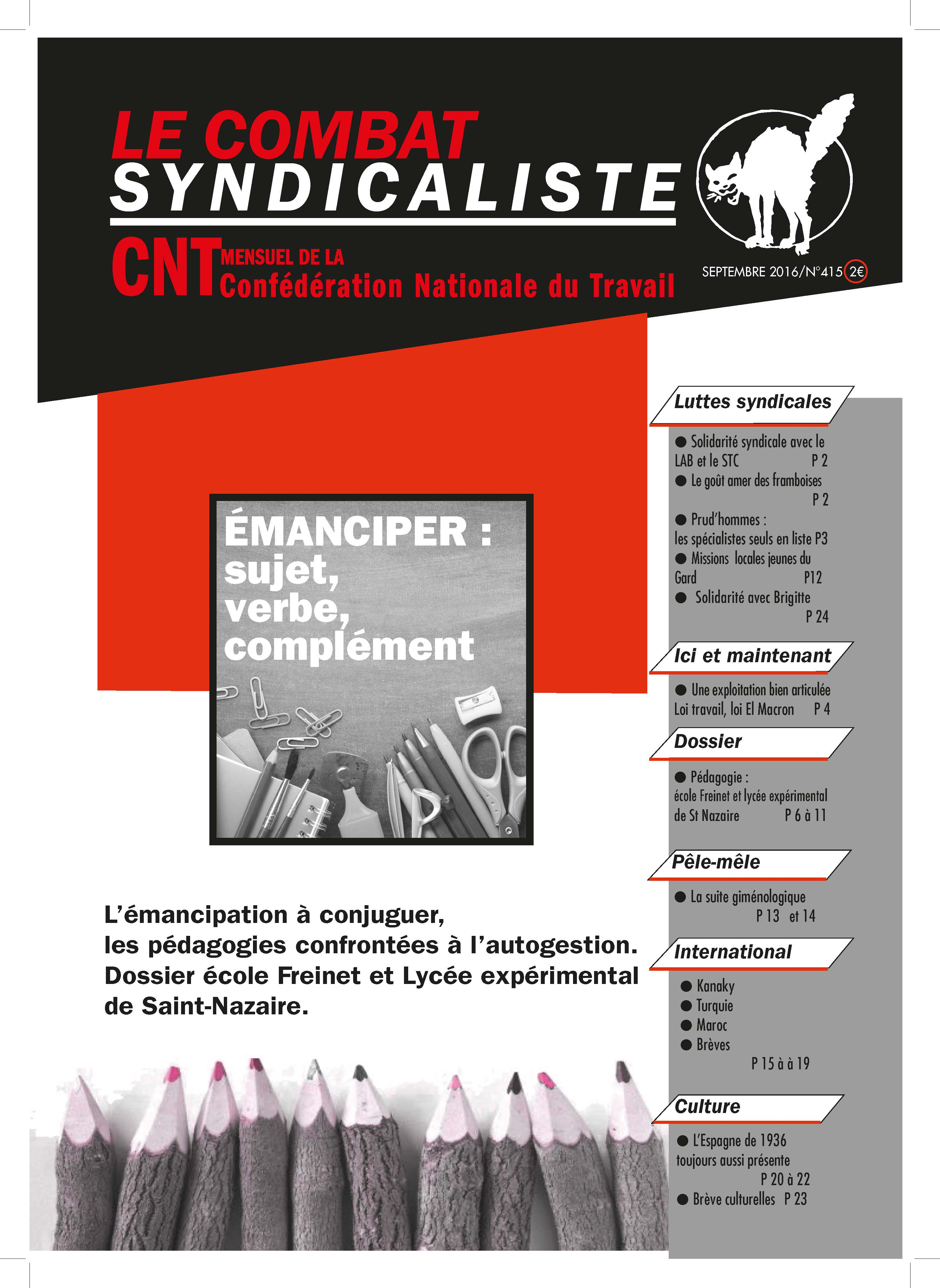 Combat syndicaliste n°415 - septembre 2016