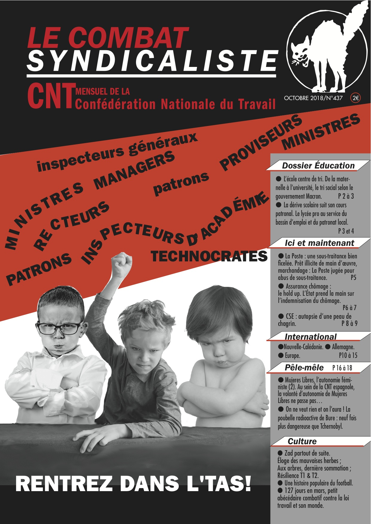 Combat Syndicaliste N 437 Octobre 2018 Confederation Nationale