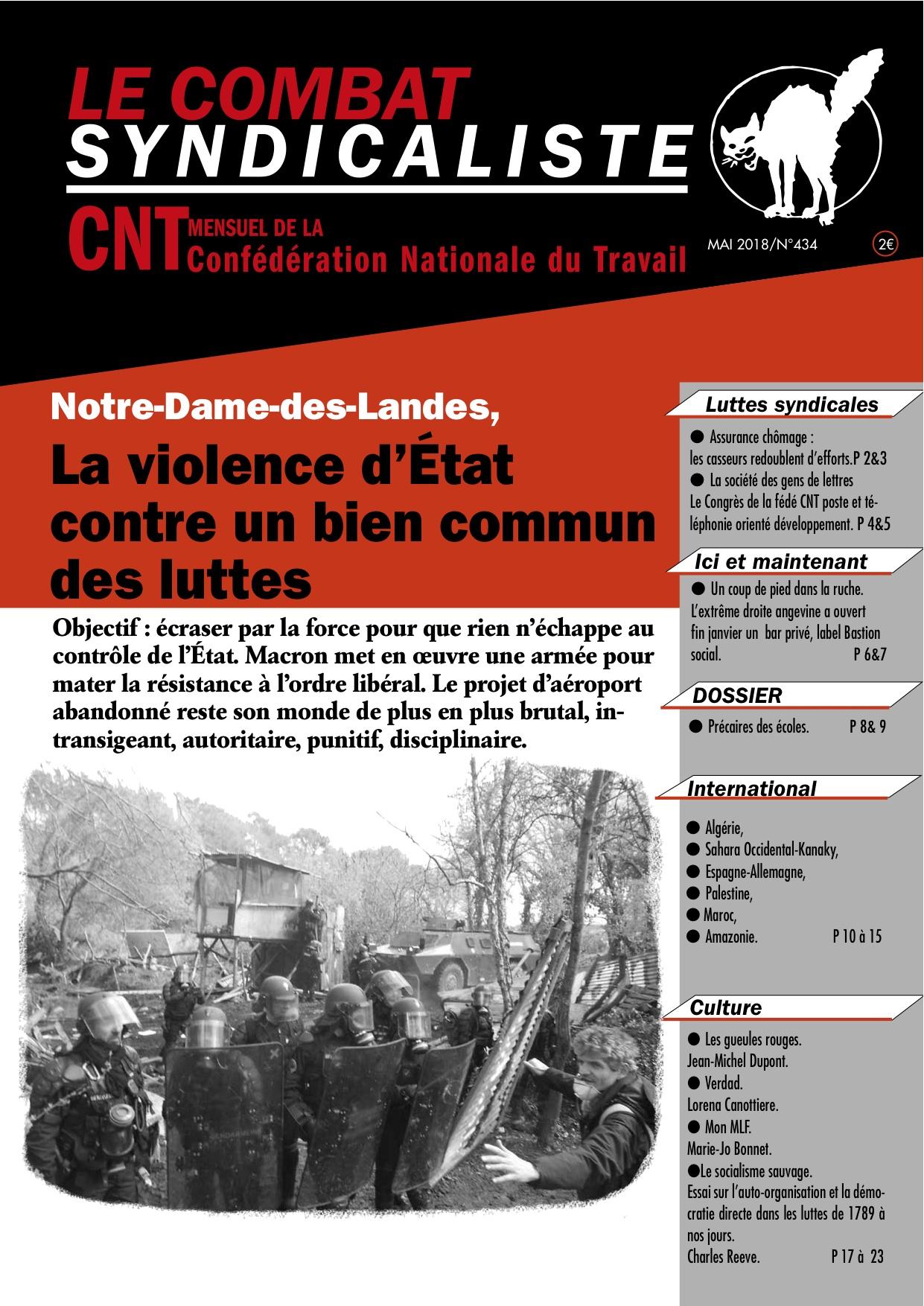 Combat Syndicaliste n°434 - Mai 2018
