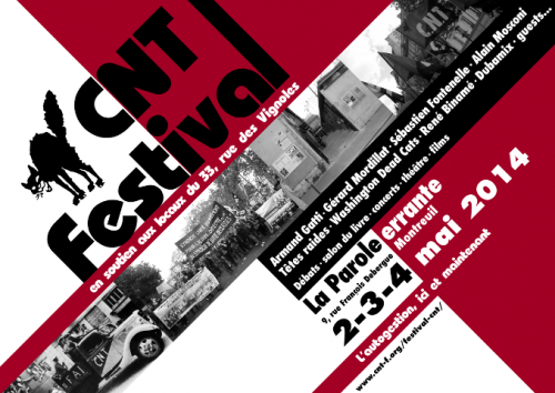 Festival CNT les 2, 3 et 4 mai 2014 à la Parole errante : preaffiche